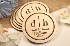Grpn BE  - Personalized Coaster Set - Two Initial Family
