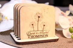 Grpn BE  - Personalized Coaster Set - Dandelion Center