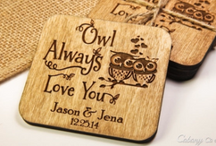 Grpn BE  - Personalized Coaster Set - Owl Love You