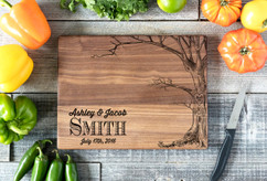 Walnut Personalized Cutting Board ~ Love Tree w/Names