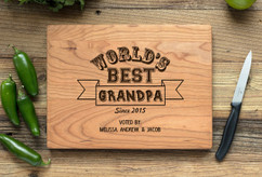 Cherry Personalized Cutting Board ~ Worlds Best Grandpa