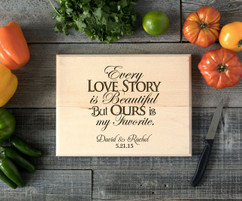 Love Story Personalized Cutting Board BW