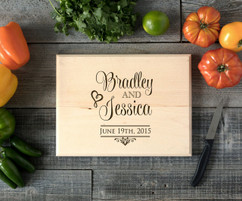 Stacked Names Personalized Cutting Board BW