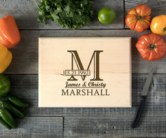 Imprint Initial Personalized Cutting Board BW