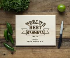 Worlds Best Grandpa Personalized Cutting Board BW