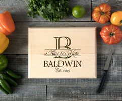 Bold Initial Personalized Cutting Board BW