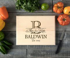 Bold Initial Personalized Cutting Board BW
