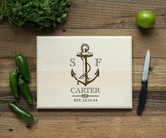 Nautical Anchor Personalized Cutting Board BW