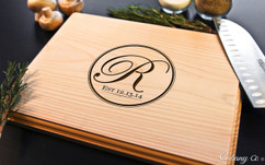 Circle Initial Personalized Engraved Cutting Board BW