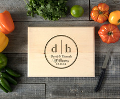Circle dual Initial Personalized Engraved Cutting Board BW
