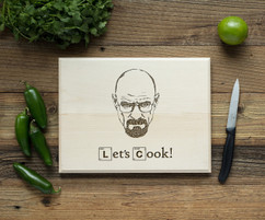 Lets Cook Typography Personalized Engraved Cutting Board BW