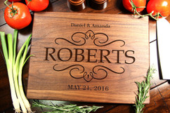 Walnut Personalized Cutting Board ~ Vintage Couple