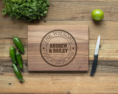 Walnut Personalized Cutting Board ~ Circle Name Crest