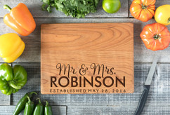 Cherry Personalized Cutting Board ~ Mr. Mrs. Bottom Name