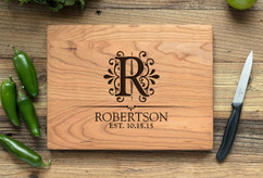 Cherry Personalized Cutting Board ~ Floral Initial