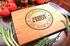 Cherry Personalized Cutting Board ~ Circle Name Crest