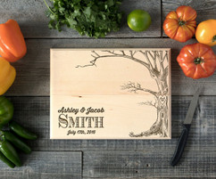 Tree Names Personalized Cutting Board BW