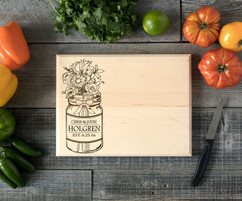 Mason Jar Personalized Cutting Board BW