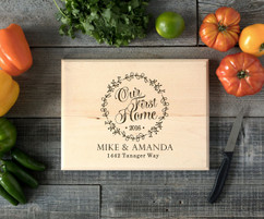 Our First Home Wreath Personalized Cutting Board BW
