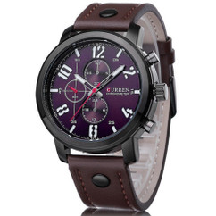 CURREN Luxury Leather Men Watch Analog Wrist Watch W#80 Plum