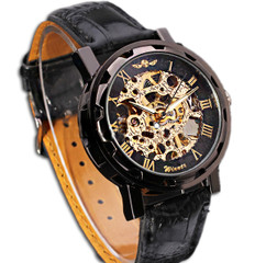 Engraved Black Gold Leather Skeleton Watch W57 - Gatsby