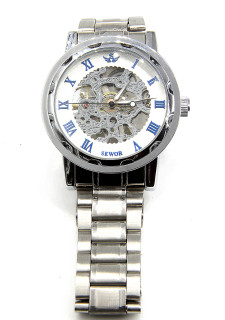 Engraved White Silver Stainless Steel Skeleton Watch W#52 - Frost