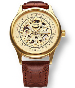 Engraved Gold Skeleton Mechanical Leather Watch W#37 - Titus