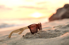 Personalized Bamboo Sunglasses - RayBan Fancy Monogram