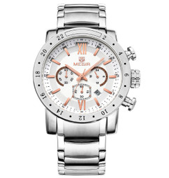 Luxury Quartz Men's Chronograph Stainless Steel Automatic Watch W48 - Regal Silver
