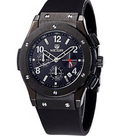 Luxury Chronograph Timepiece Plum Black Stainless Steel Watch - Magnum