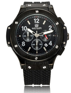 Luxury Carbon Fiber Chronograph Timepiece Black Stainless Steel Watch - Magnum
