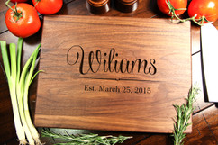 Walnut Personalized Cutting Board ~ Family Name
