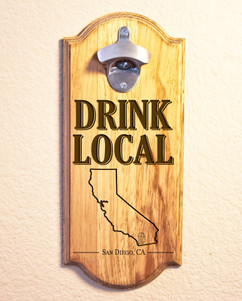 Personalized Engraved Wall Mount Bottle Opener - Drink Local