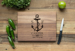 Walnut Personalized Cutting Board ~ Nautical Anchor