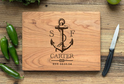 Cherry Personalized Cutting Board ~ Nautical Anchor