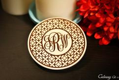 Personalized Coaster Set - Flower Of Life Monogram