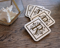 Personalized Coaster Set - Floral Initial