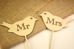 Personalized Cake Topper - Mr & Mrs Birds