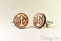 Personalized Wood Cuff Links - Circle Monogram