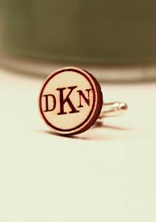 Personalized Wood Cuff Links - Standard Circle Monogram