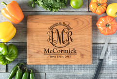 Cherry Personalized Cutting Board ~ Couple Monogram