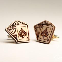Personalized Wood Cuff Links - Royal Flush