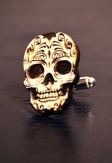 Personalized Wood Cuff Links - Dia de los Muertos