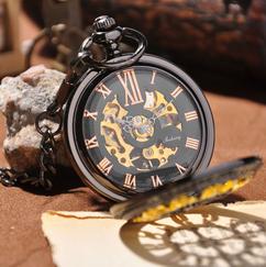 Engraved Men Vintage Mechanical Pocket Watch W#2