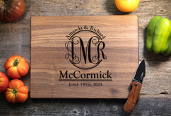 Walnut Personalized Cutting Board ~ Couple Monogram