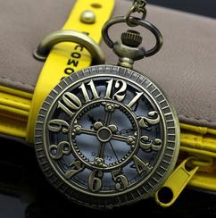 Engraved Men Vintage Mechanical Pocket Watch W#14