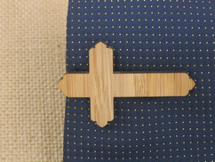 Wooden Tie Clip - Cross Cutout
