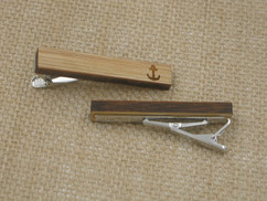 Wooden Tie Clip - Engraved Anchor