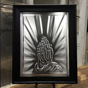 Skeleton Praying Hands Black Frame
