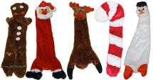 Christmas Holiday Dog Toys without stuffing, gingerbread man dog toy, Santa dog toy, reindeer dog toy, candy cane dog toy, snowman dog toy